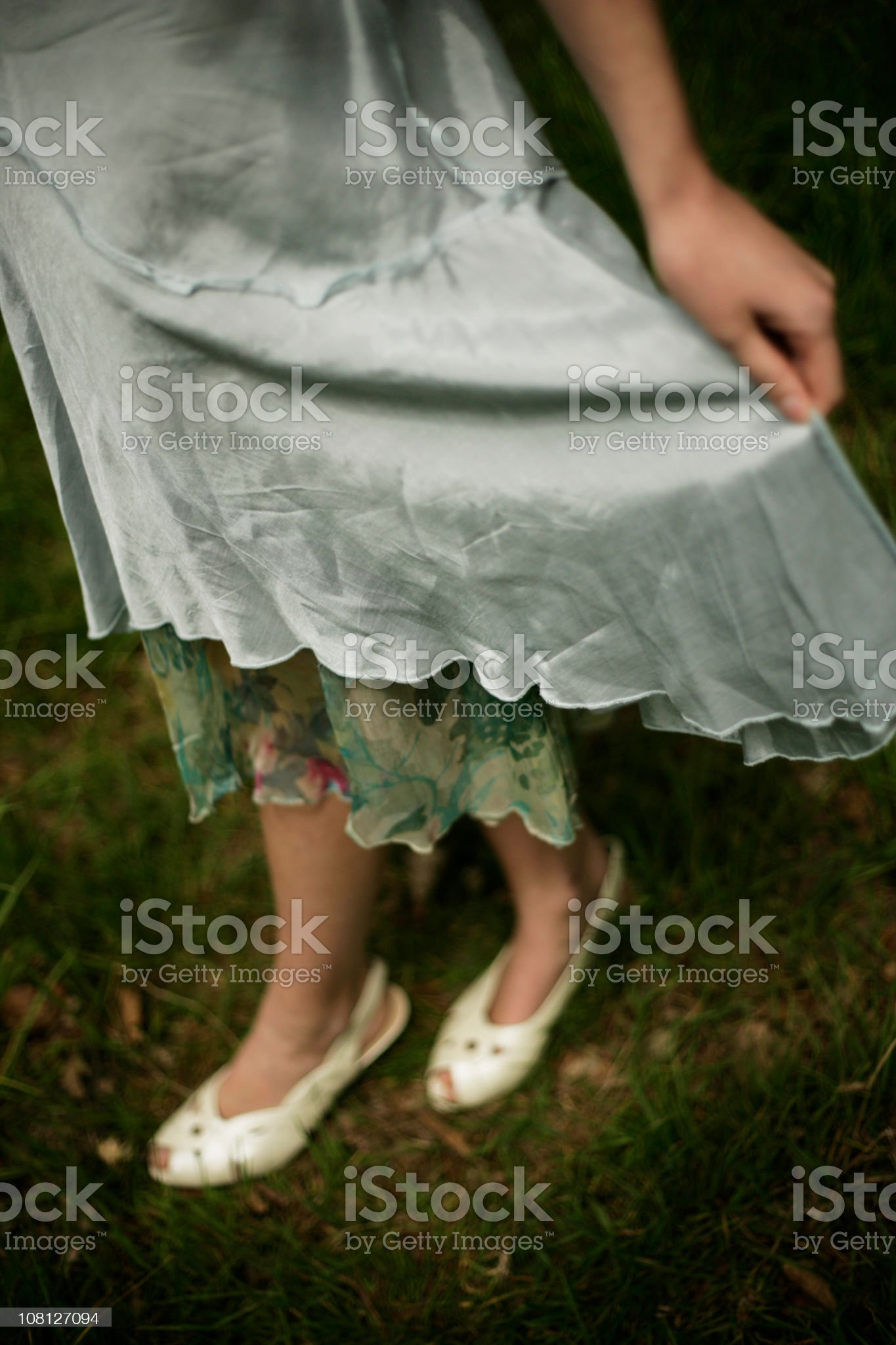 Young Woman Wearing Vintage Dress and Shoes royalty-free stock photo