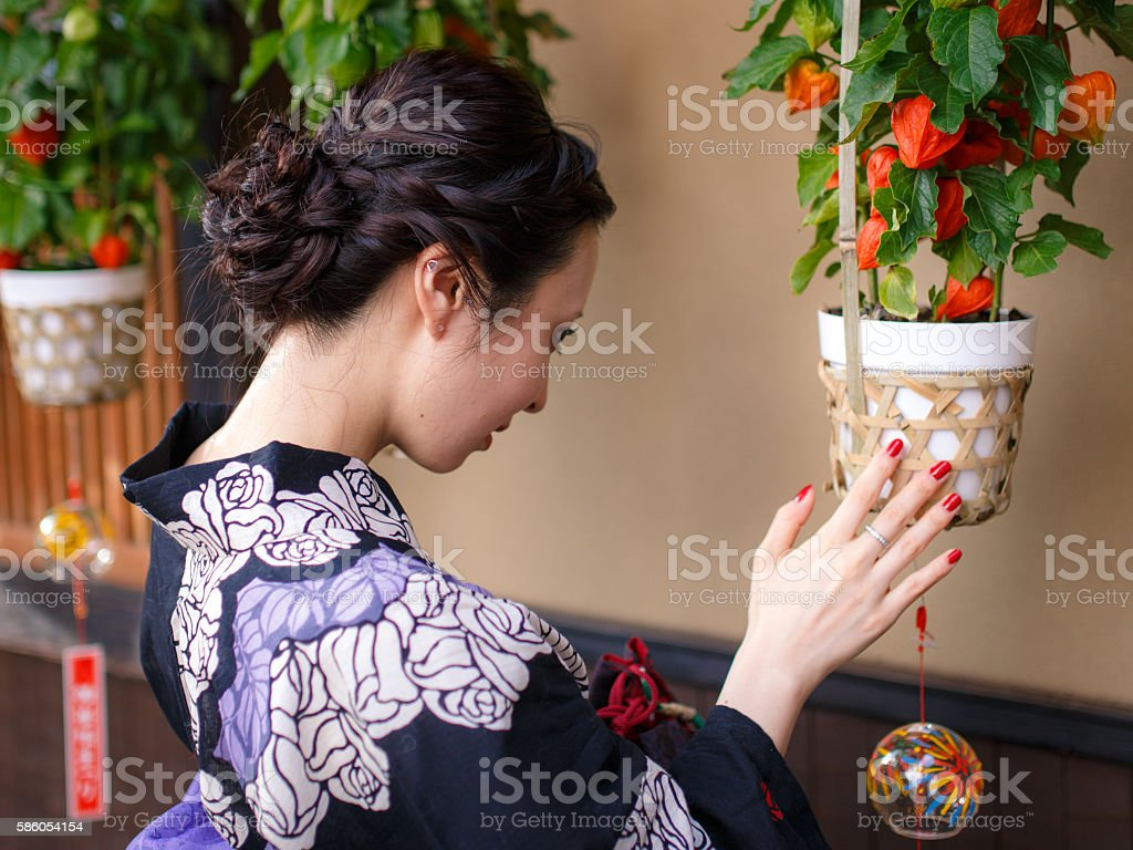Young woman wearing Yukata at houzuki festival stock photo