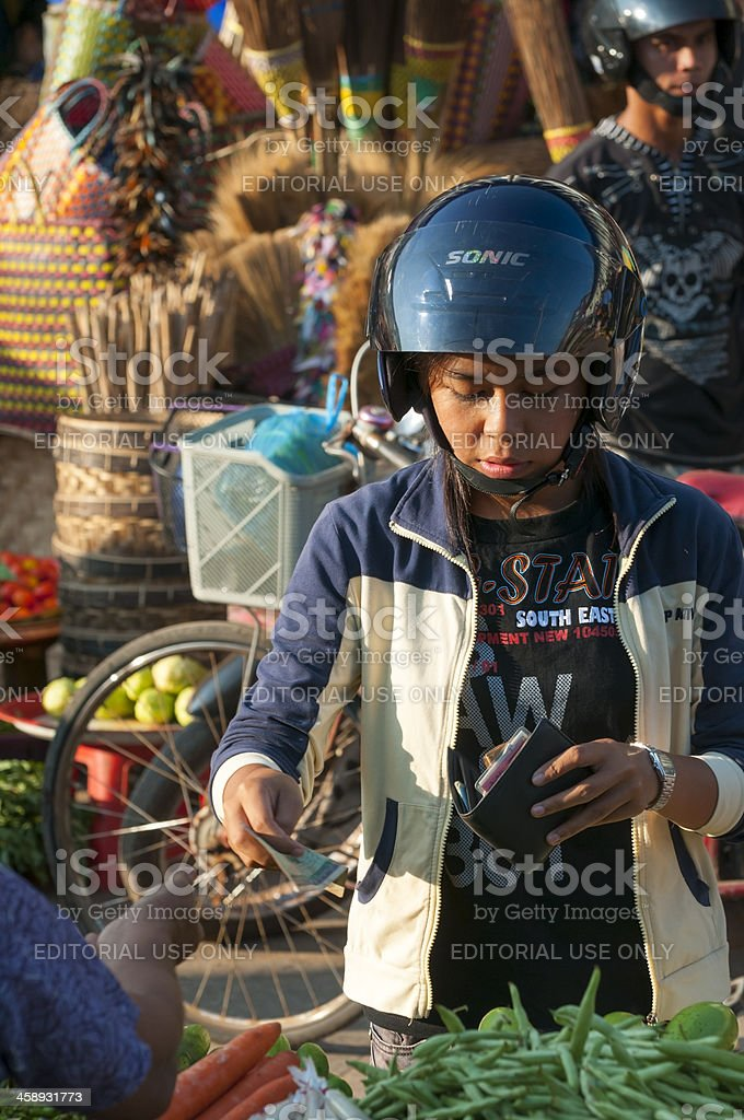 Market transaction in Myanmar royalty-free stock photo