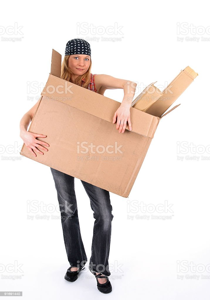 Young woman with a big cardboard box royalty-free stock photo