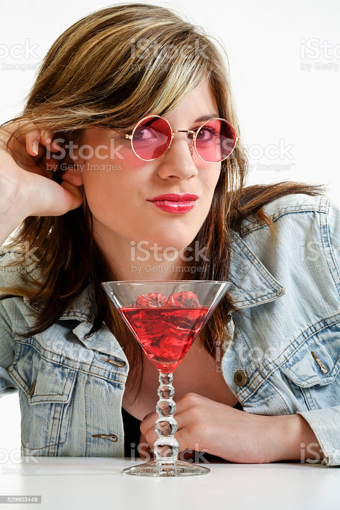 Young woman with a Cocktail stock photo