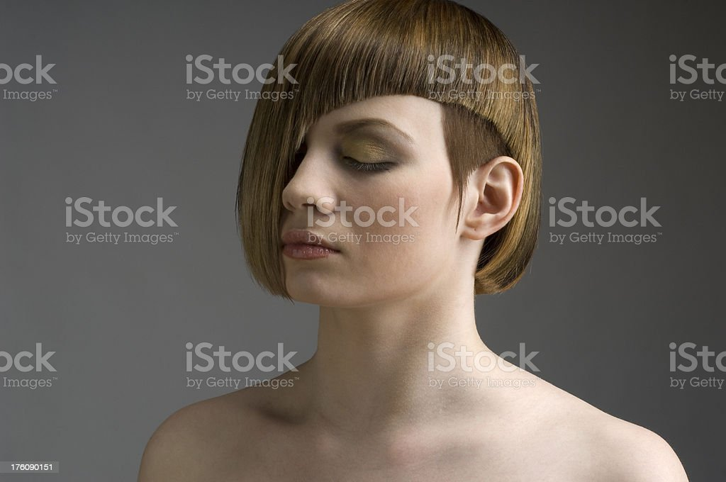 Young woman with a creative hairstyle. royalty-free stock photo