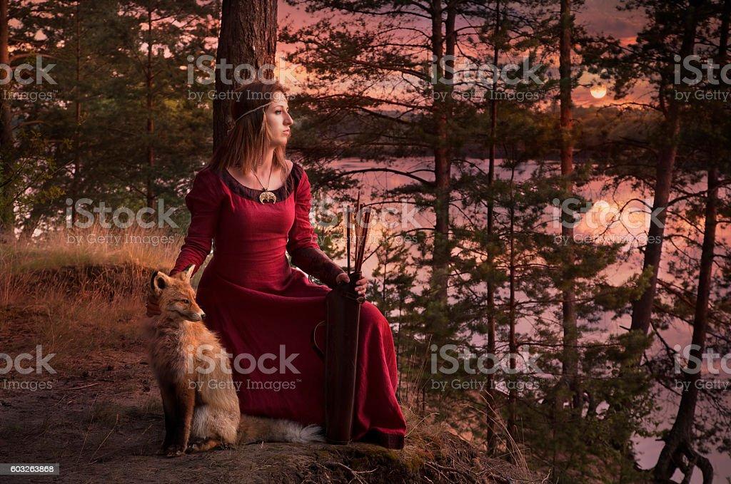 Young woman with a Fox stock photo
