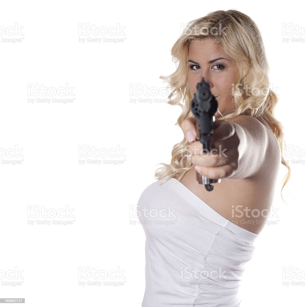 young woman with a gun royalty-free stock photo