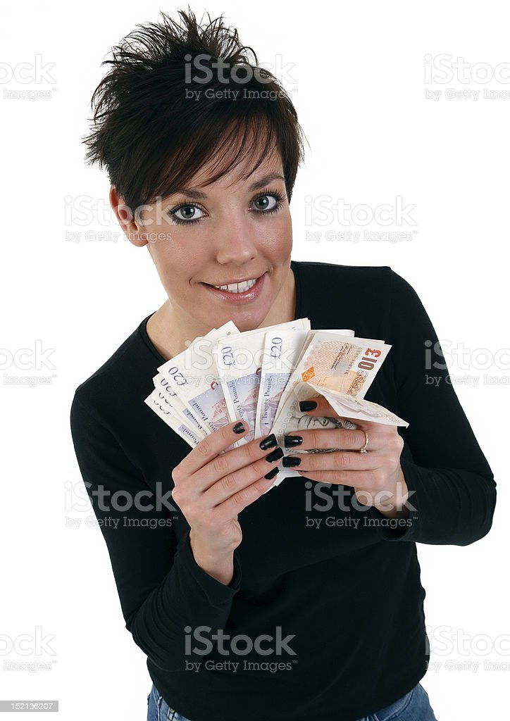 Young woman with a handful of bank notes royalty-free stock photo