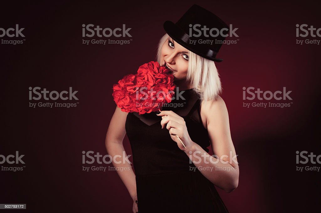 Young woman with a heart-shaped figure stock photo