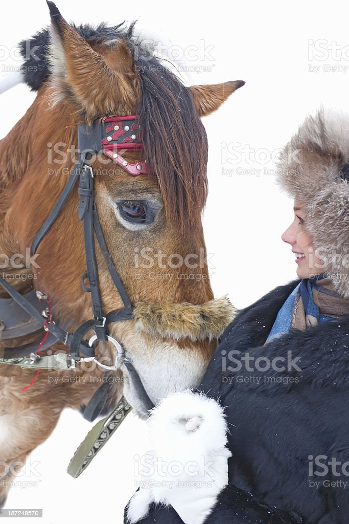 young woman with a horse royalty-free stock photo