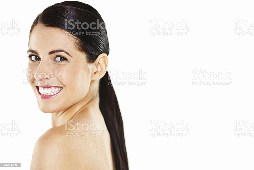 Young Woman with a Ponytail - Isolated royalty-free stock photo