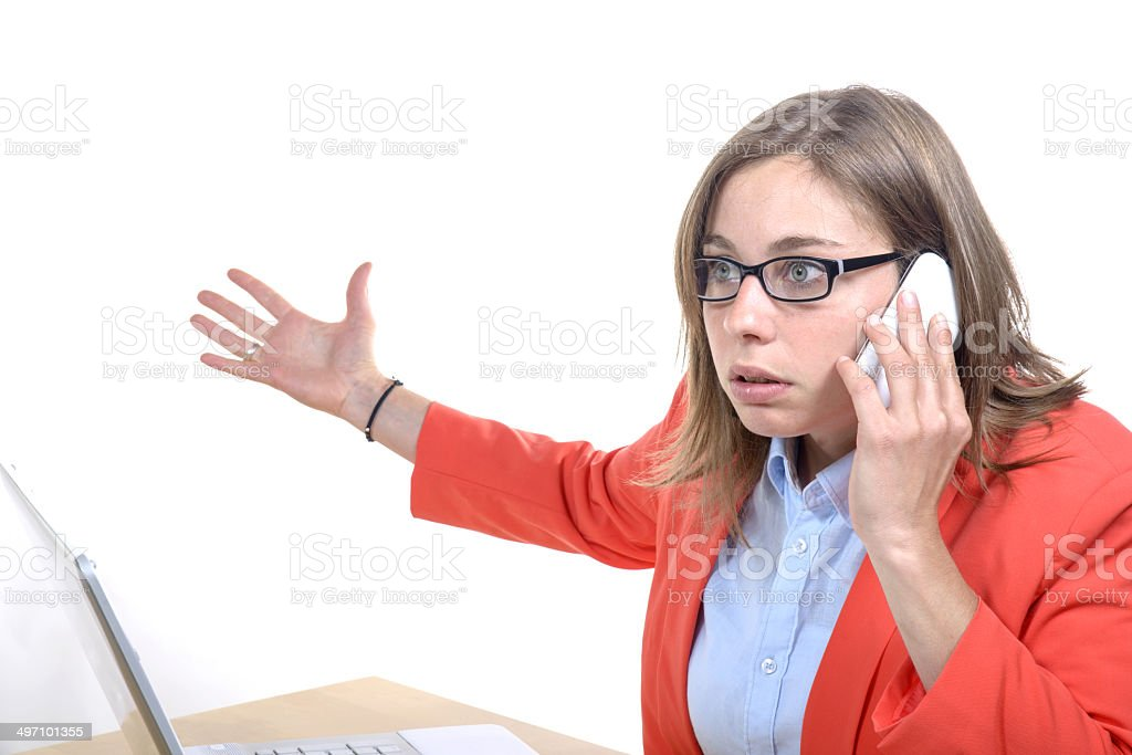young woman with a problem on the phone stock photo