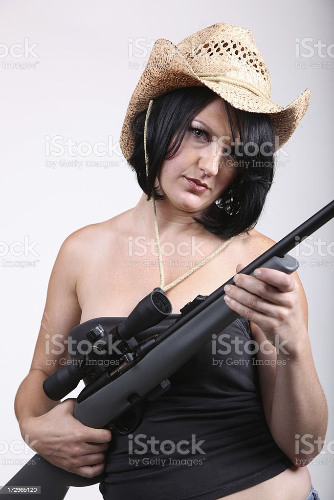 Young Woman with a Rifle royalty-free stock photo