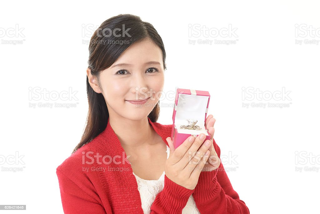 Young woman with a ring stock photo