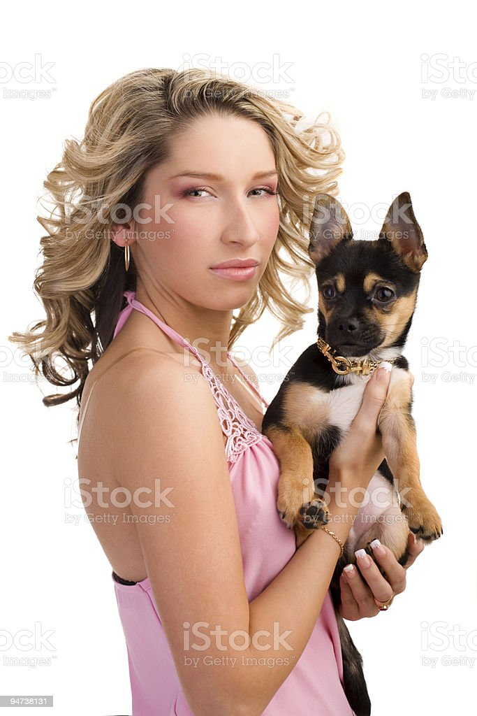 Young woman with a small dog royalty-free stock photo