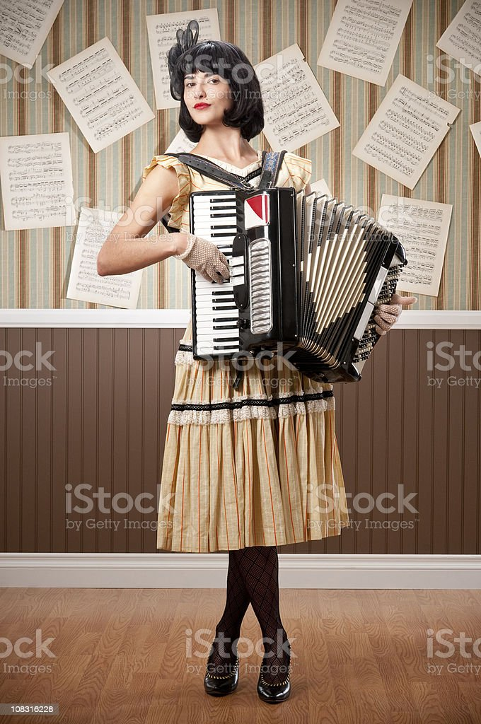 Young Woman With Accordion royalty-free stock photo