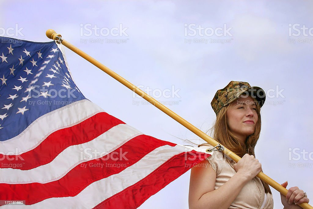Young Woman with American Flag royalty-free stock photo