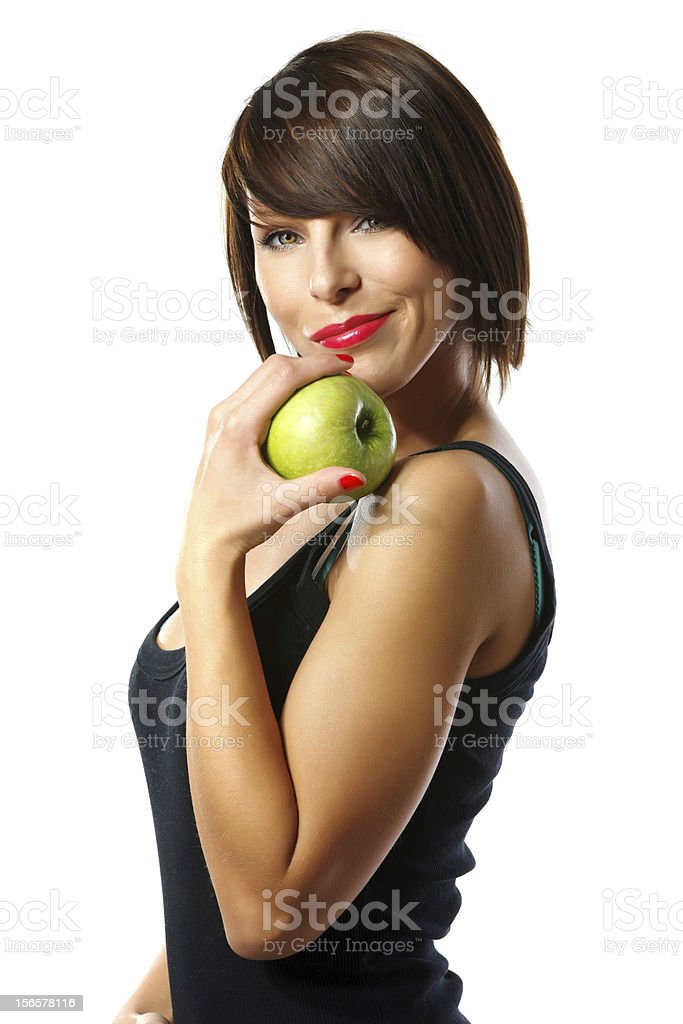 Young woman with an apple royalty-free stock photo