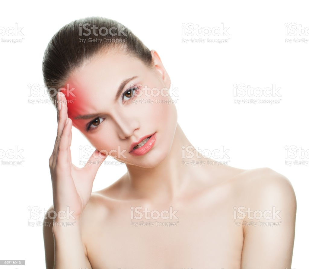 Young Woman with an Headache. Woman Puts Hands on the Head Isolated stock photo