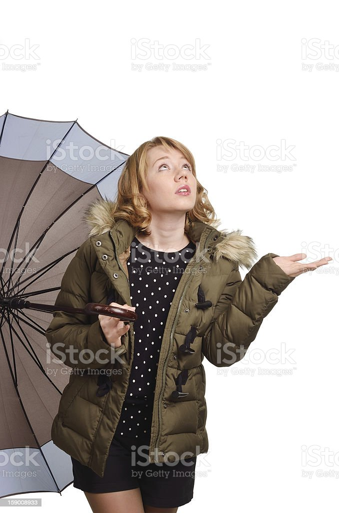 Young woman with an umbrella stock photo