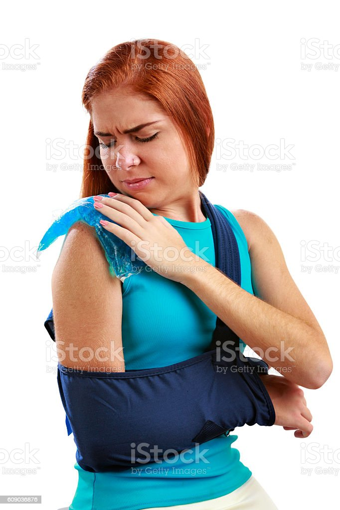 Young woman with Arm  Sling stock photo