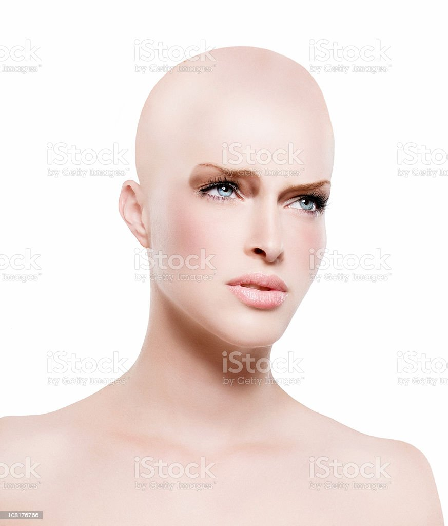 Young Woman with Bald Head stock photo