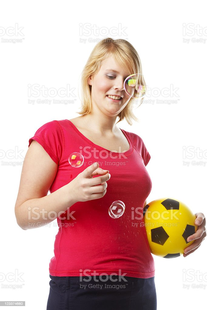 Young Woman With Ball And Soap Bubbles royalty-free stock photo