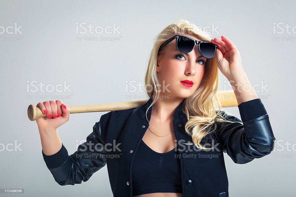 Young woman with Baseball bat royalty-free stock photo