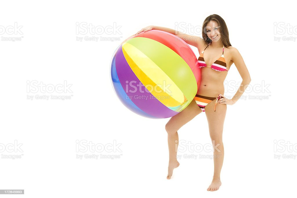 Young Woman with Beach Ball royalty-free stock photo