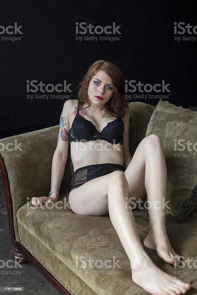 Young Woman with Beautiful Green Eyes in Her Underwear royalty-free stock photo