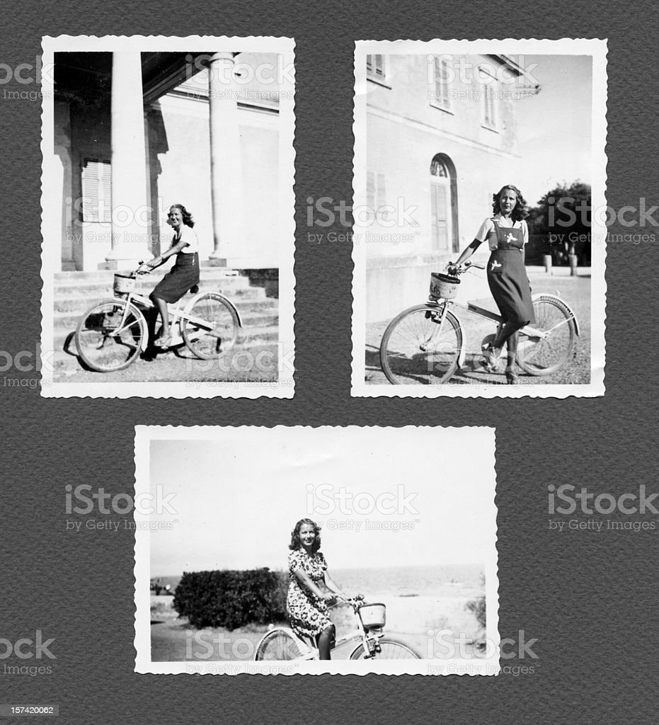 young woman with bike royalty-free stock photo
