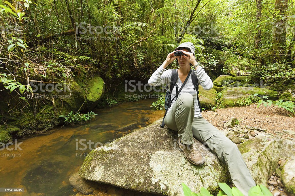 Young Woman with Binouclars, Adventure in the Jungle royalty-free stock photo