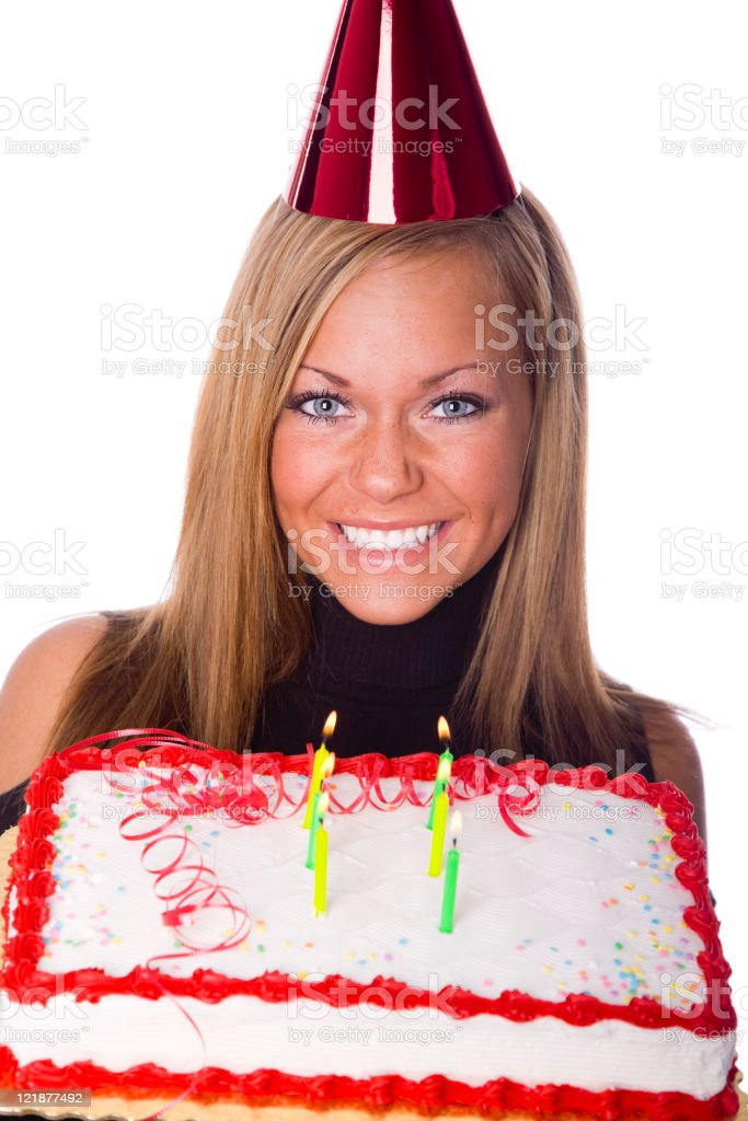 Young Woman with Birthday Cake royalty-free stock photo