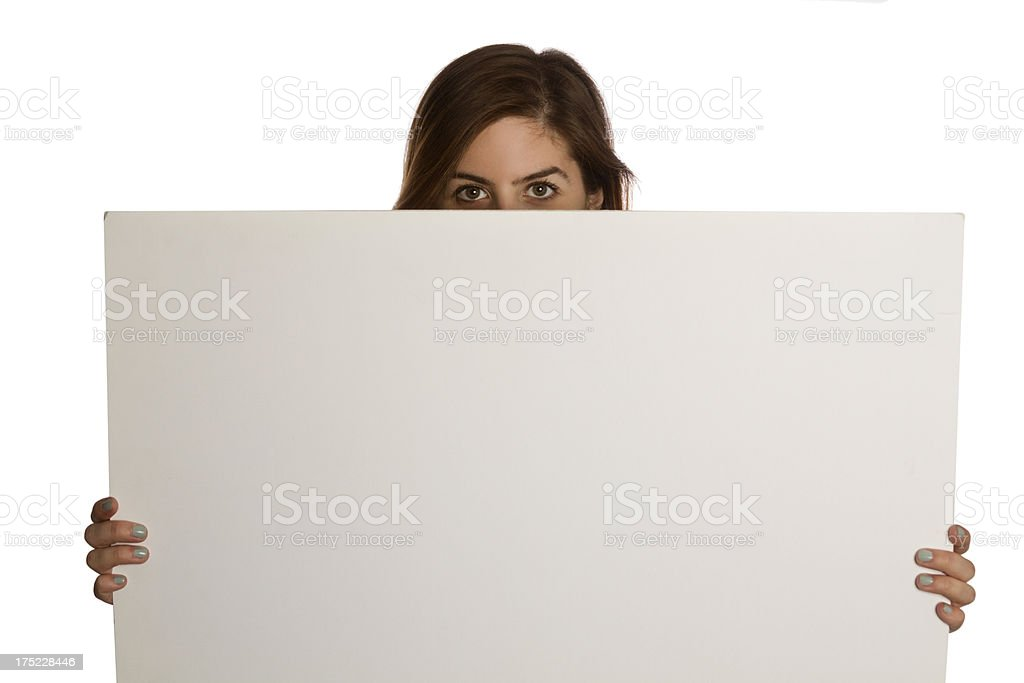 young woman with blank board royalty-free stock photo