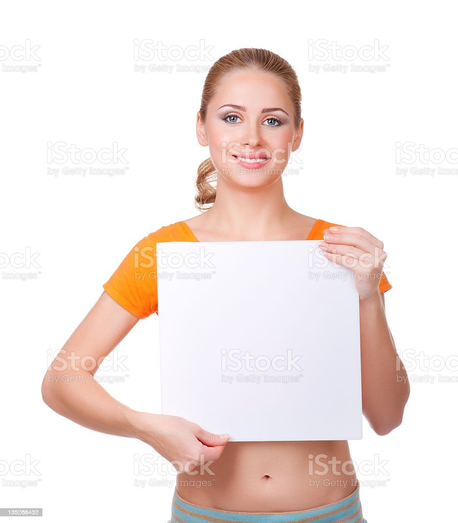 Young woman with blank card royalty-free stock photo