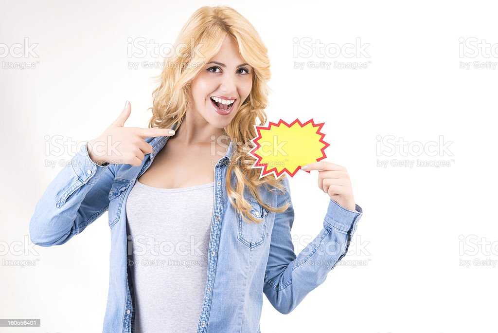 Young woman with blank news sign royalty-free stock photo