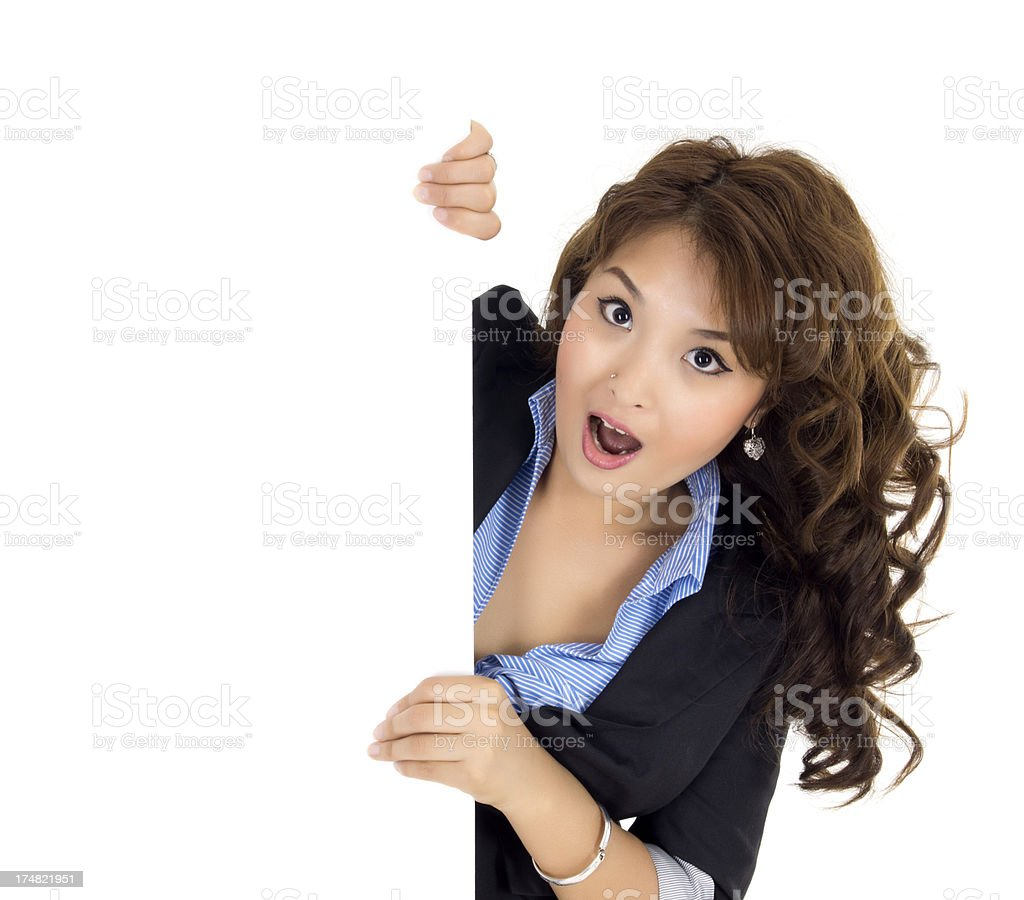 young woman with blank sign royalty-free stock photo