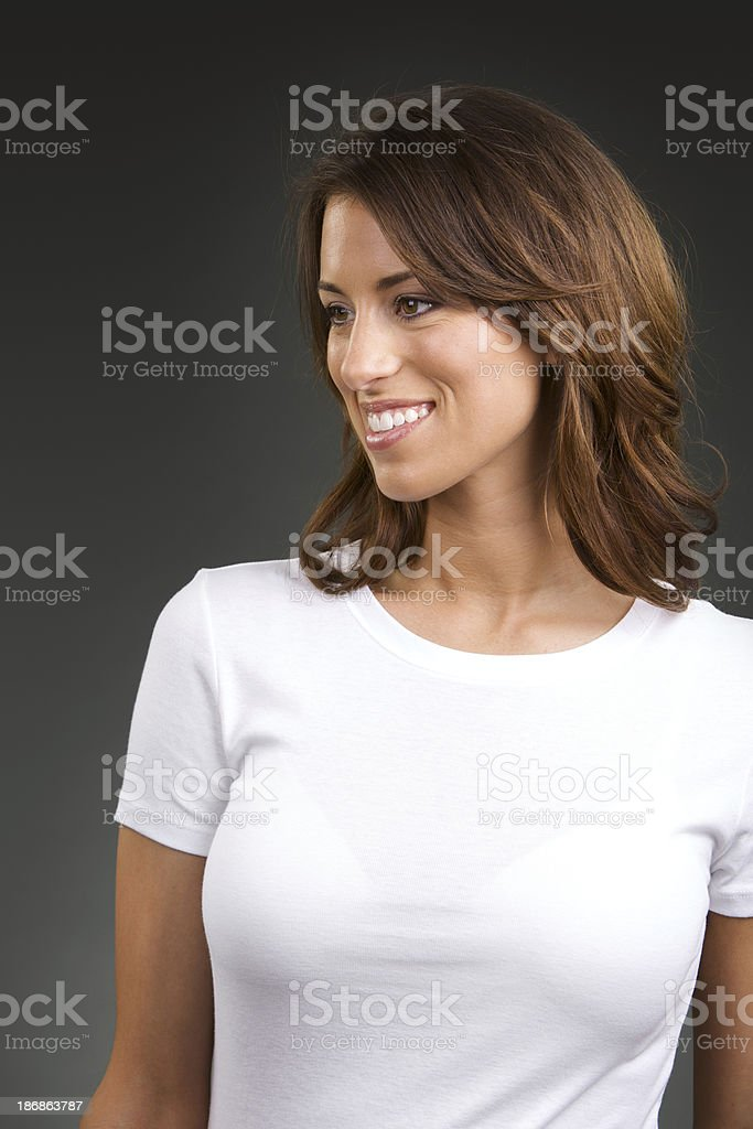 Young woman with blank white shirt stock photo