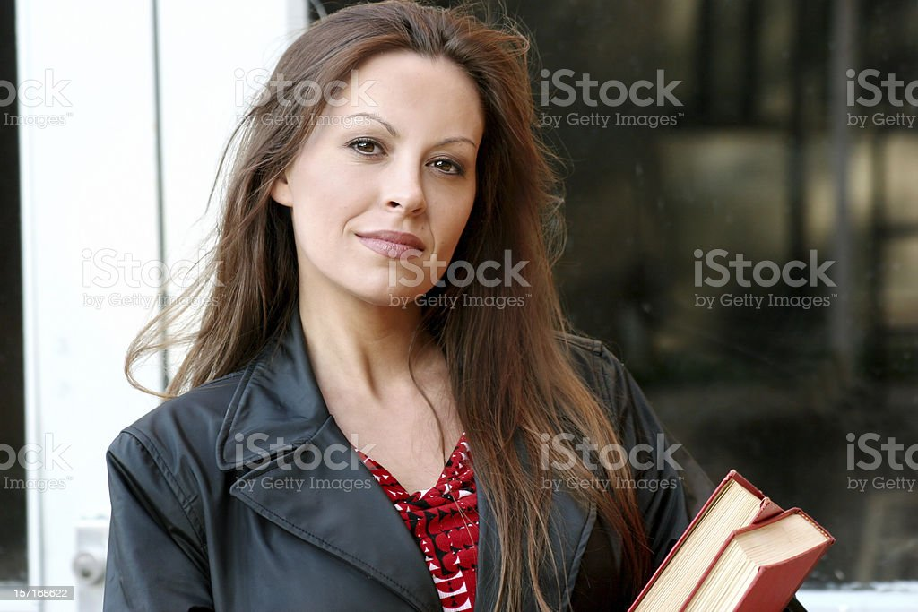 Young Woman with Books royalty-free stock photo