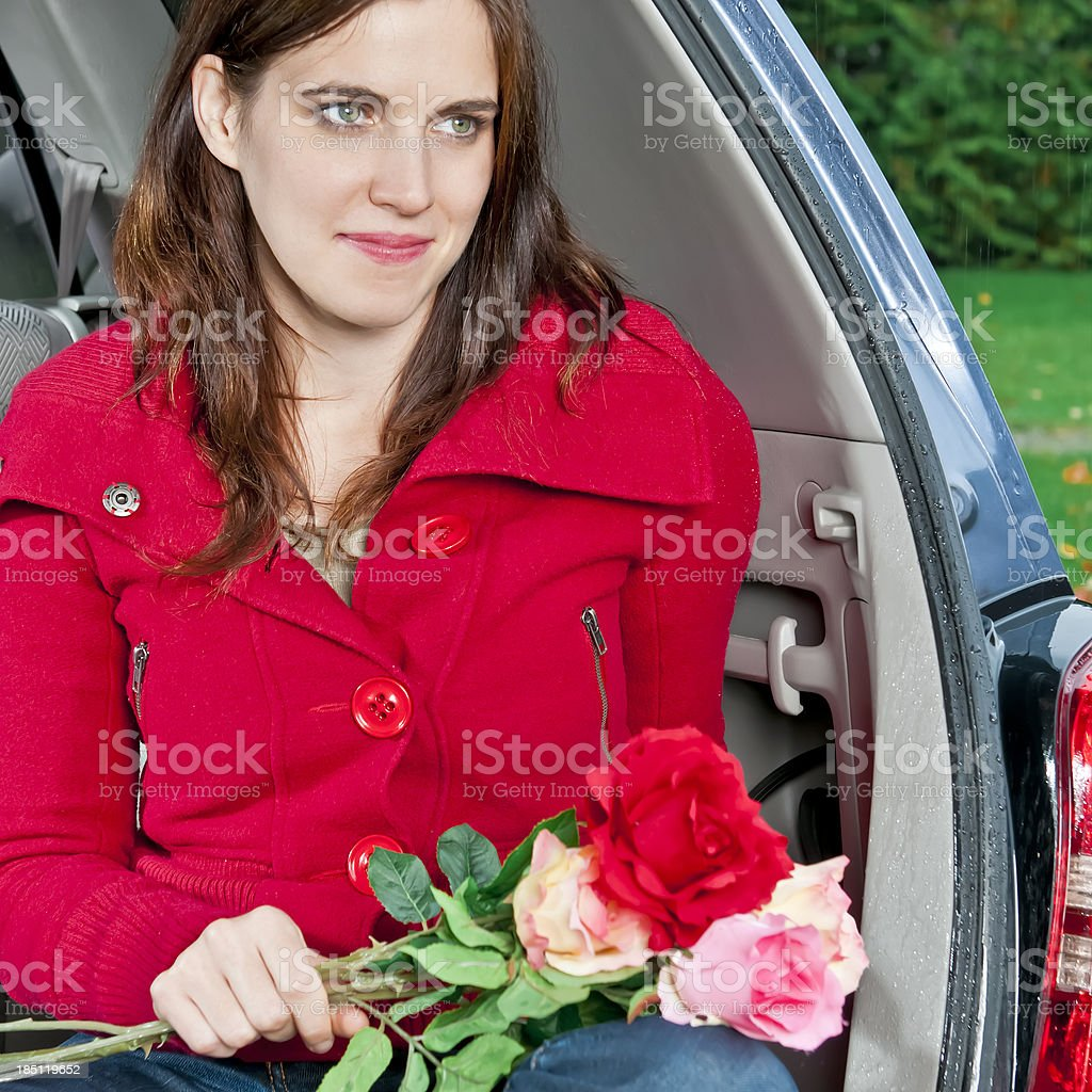 Young woman with bouquet of roses - I stock photo