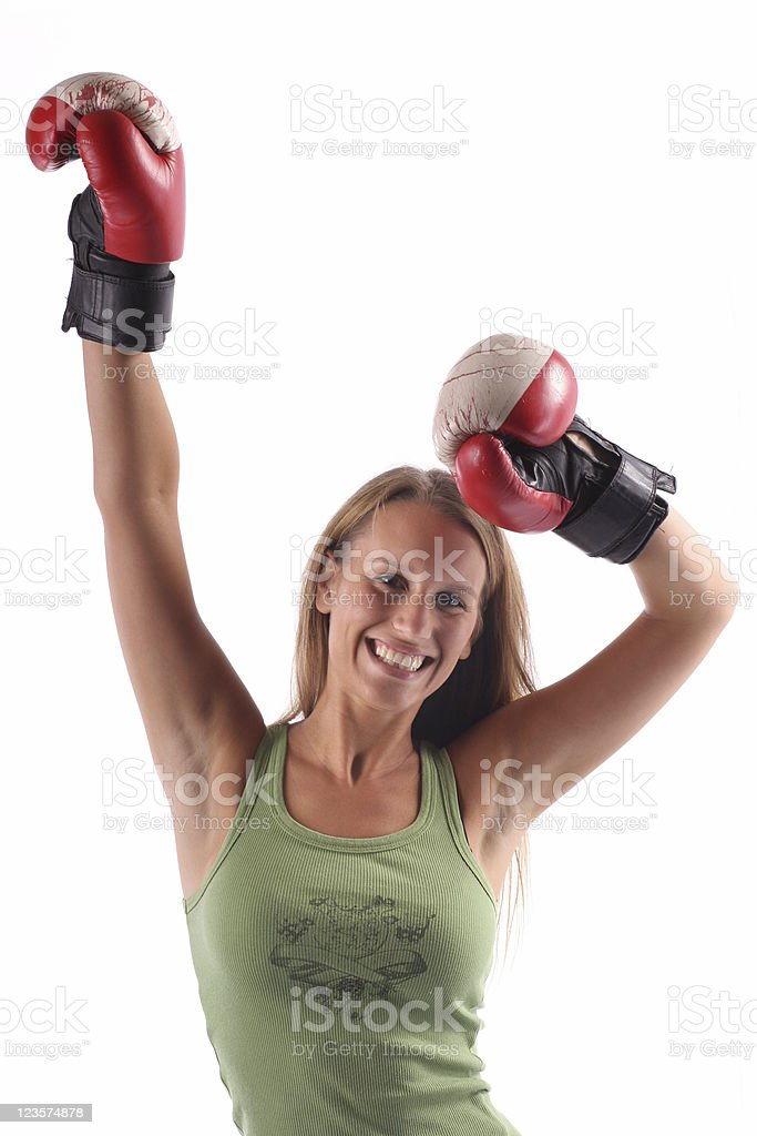Young woman with boxing gloves royalty-free stock photo