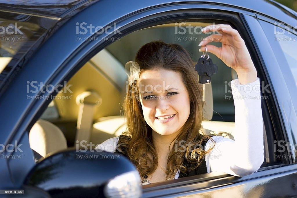 Young Woman with Car Key royalty-free stock photo