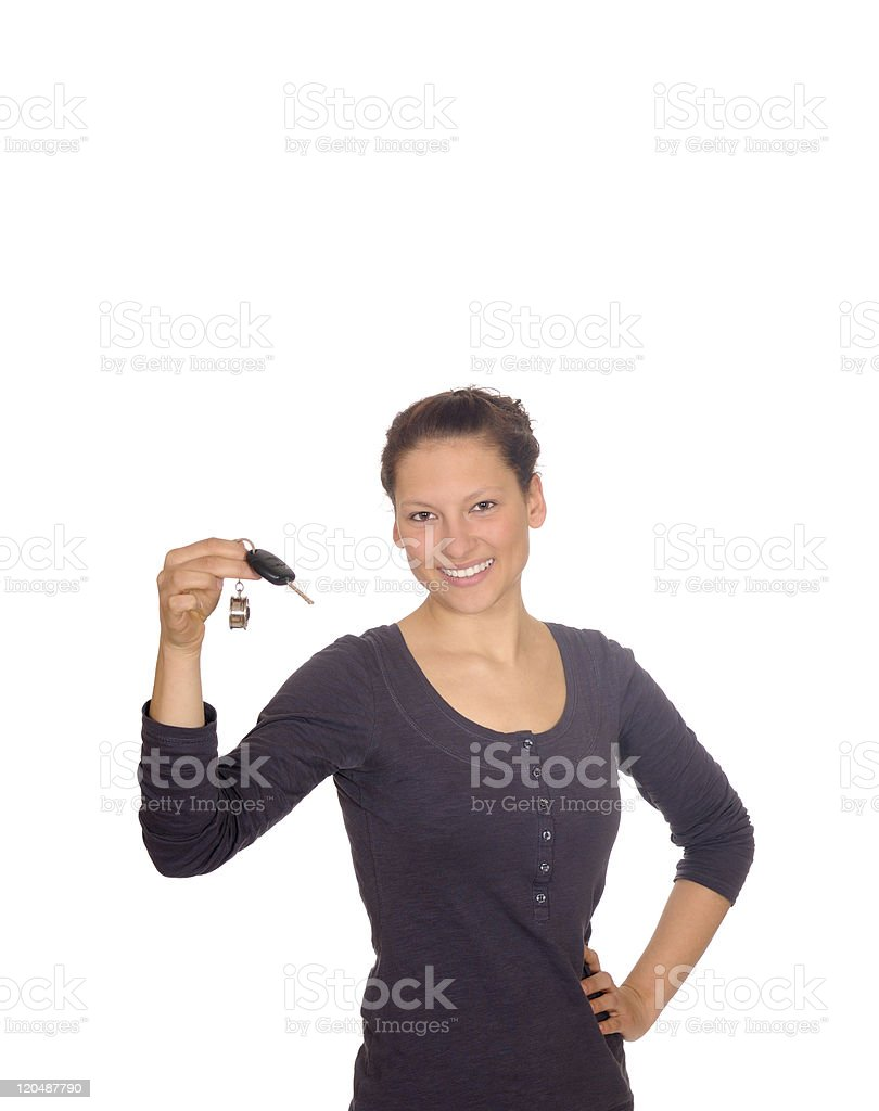 young woman with car keys stock photo