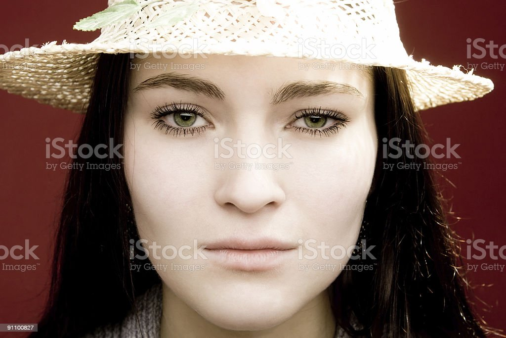 Young woman with chinese hat royalty-free stock photo