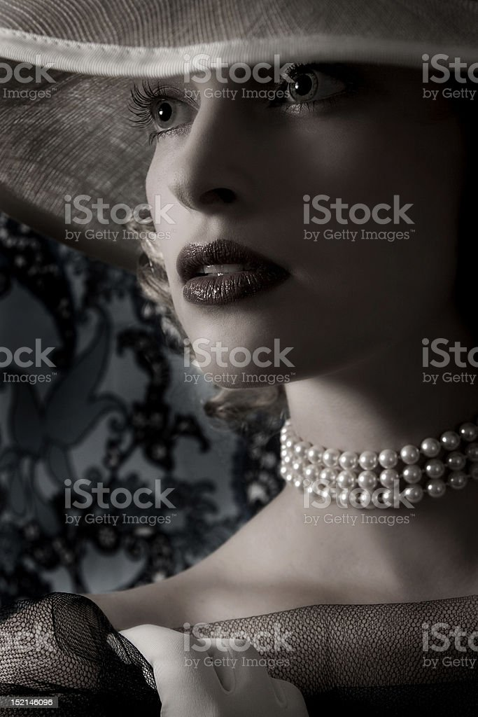 Young woman with classic hat stock photo