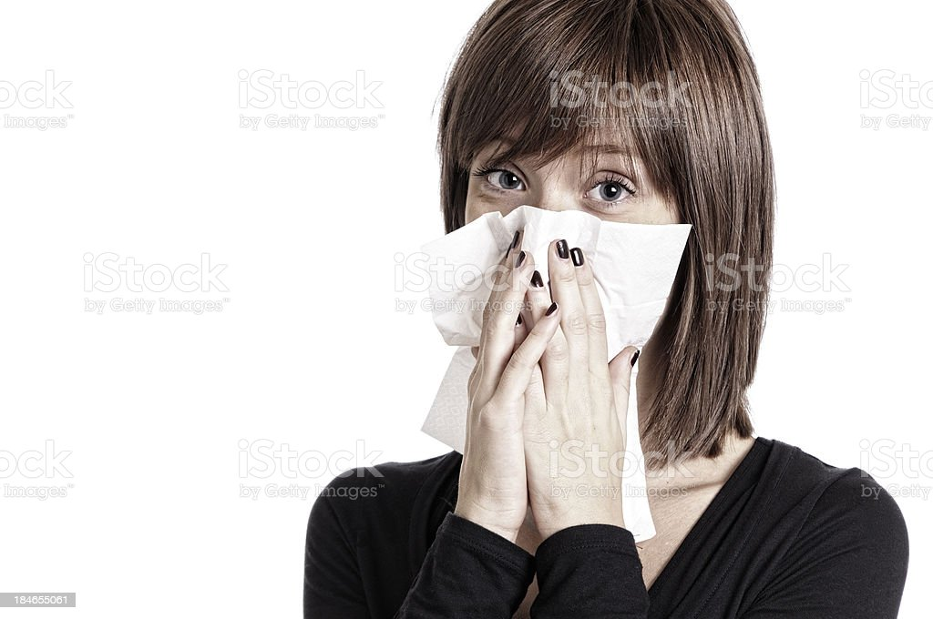 Young Woman with Cold.Copy Space royalty-free stock photo