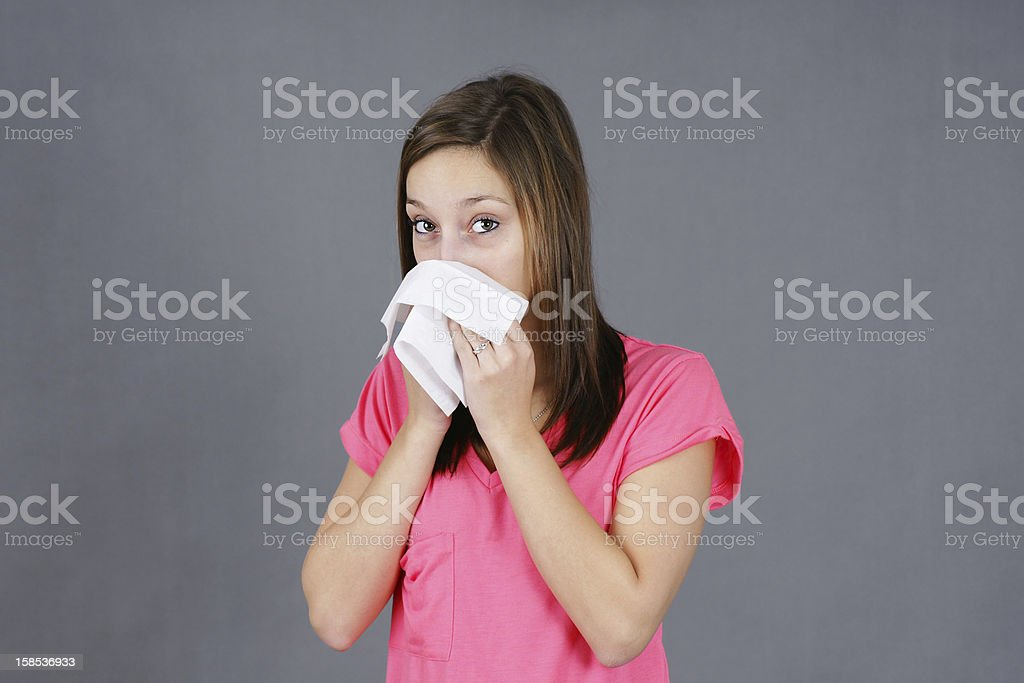 Young woman with colf or flu royalty-free stock photo