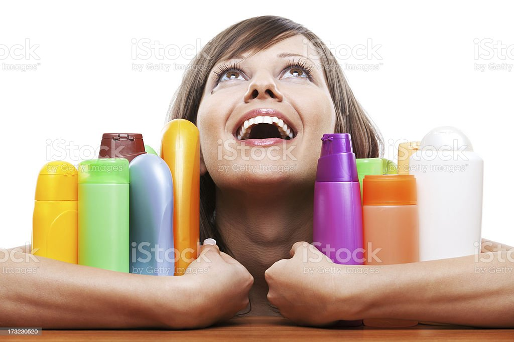 Young woman with cosmetics royalty-free stock photo