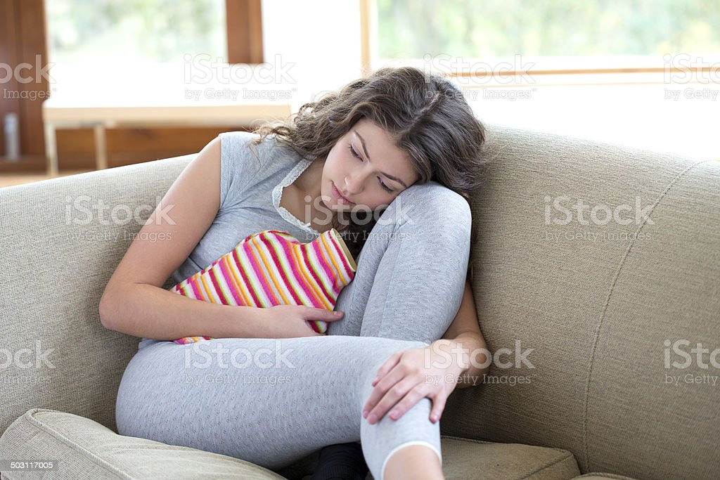 Young Woman With Cramps stock photo
