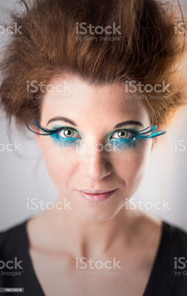 Young Woman With Crazy Hair and Heavy Make-up royalty-free stock photo