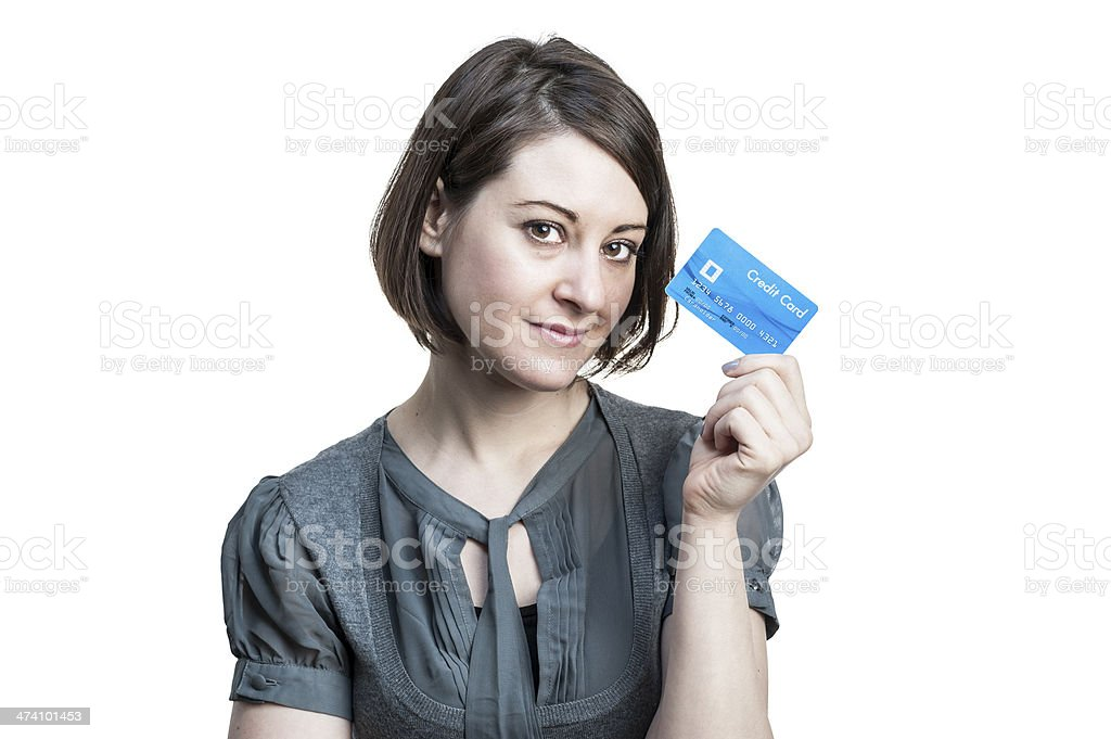 Young woman with credit card royalty-free stock photo