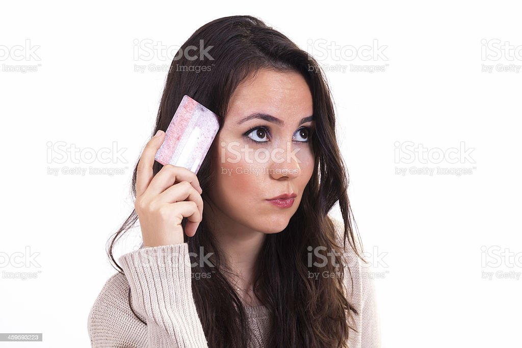 Young Woman with Credit Cards royalty-free stock photo