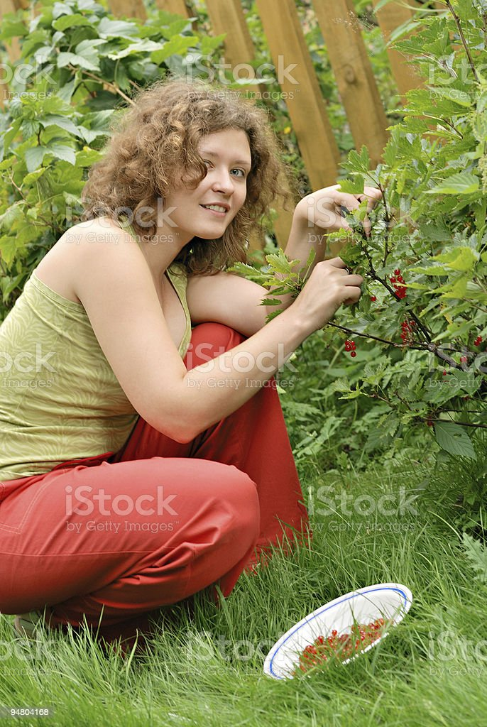 Young woman with crop of red currant royalty-free stock photo